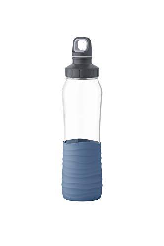 Emsa N3100200 Drink2Go Glas Trinkflasche (Fassungsvermögen: 0,7 Liter, Schraubverschluss) Aqua-Blau