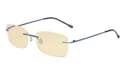 Eyekepper Computerbril vrouwen blauw licht blokkering lezer met gele filter lens lichtgewicht randloos lezen bril ohne kraft Blau-bb60 lens