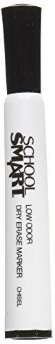 School Smart Dry Erase Marker, Low Odor, Chisel Tip, Black, Pack of 12