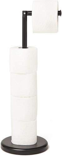 Toilettenpapierhalter schwarz stehend, Klopapierhalter ohne bohren, in stylischer schwarzer Optik, keine Montage, individuell aufstellbar, ohne bohren
