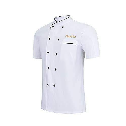 Chaqueta de Chef Personalizada Camisa de Manga Corta Chaqueta de Chef Bordada Cocina de Hotel Restaurante Uniforme de Trabajo Panadería Cocina Servicio de Alimentos Catering Camiseta
