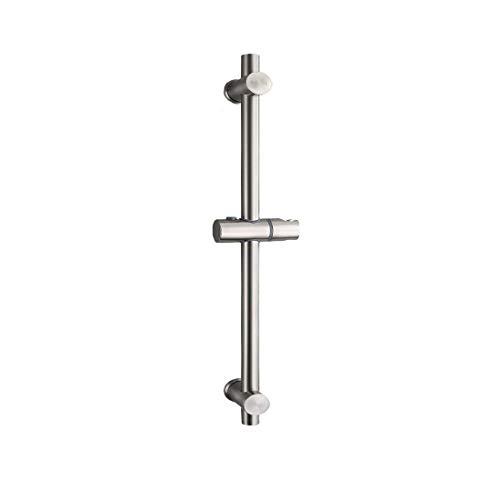 Duschstange Dusch-Riser-Schiene,duschstange variabel aus Edelstahl 304 Mit höhen- und winkelverstellbaren Befestigungsklammern,Oberfläche aus gebürstetem Edelstahl,660mm Gesamthöhe