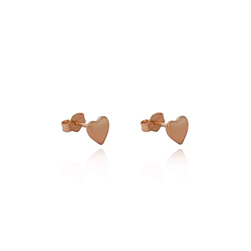 18ct rose gold plated Sterling silver tiny heart stud earrings/novelty gift box included