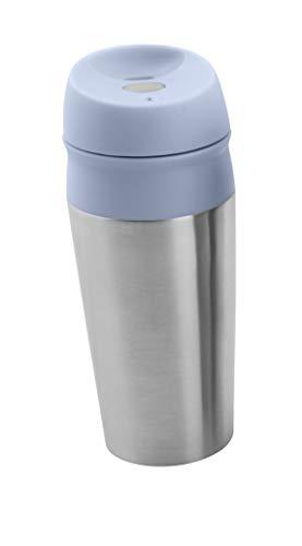 Thermo Kaffeebecher Coffee to go, Teebecher, Edelstahl Isolierbecher, Mehrwegbecher, Trinkbecher 450ml, mit Push-Button. (Blau)