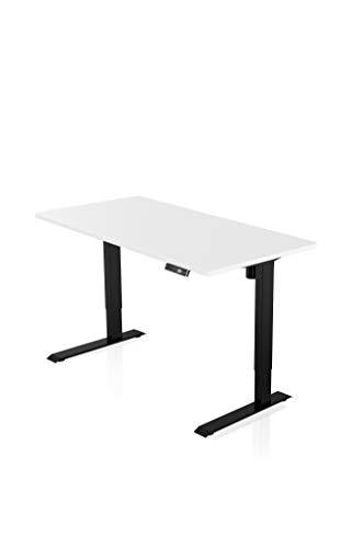 """- AGIL - Elektrisch Höhenverstellbarer Schreibtisch - Schwarzes STANDARD """"non-centered"""" Gestell & weißer Tischplatte - Memory Funktion - Ergonomischer Schreibtisch für Kinder und Erwachsene"""