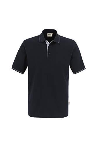 HAKRO Polo-Shirt Casual - 3-Loch Knopfleiste - 803 - schwarz/silber - Größe: 3XL