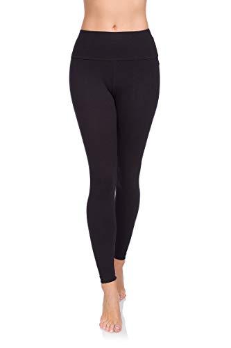 Soft Sail Damen Leggings, hohe Taille, Bauchkontrolle, weiche Baumwolle Gr. 40, Schwarz