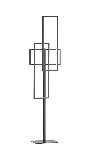 Zenit - Lámpara de pie (3 focos, 160 x 20 x 42 cm, intensidad regulable), color gris oscuro
