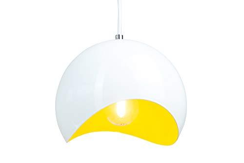 anTes interieur Hängeleuchte Verve weiß gelb mit 10 Watt LED-Leuchtmittel 20 cm Ø (Pendelleuchte Hängelampe Deckenlampe Pendellampe Deckenleuchte)