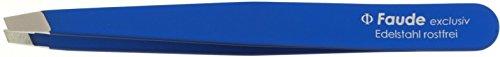 Faude Kosmetische Pinzette, Haarzupfpinzette, Beauty Pinzette, höchste Qualität, schräg blau gummiert 9,8cm