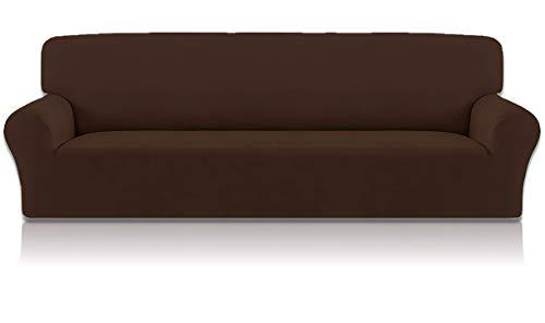 Home Comfort Funda para sofá de 1, 2, 3 y 4 plazas, funda elástica para sofá (marrón, 4 plazas)