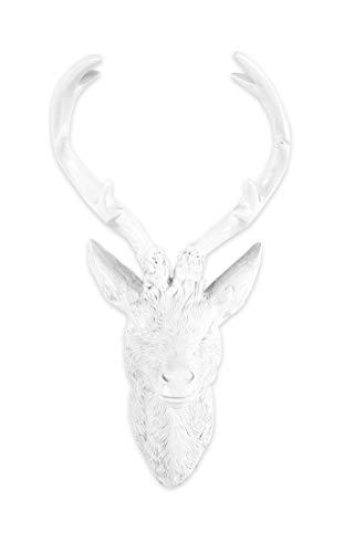 BigDean Hirschgeweih 28 cm - Wand-Deko in Geweih-Optik - Weiß Hochglanz - Hirschkopf für Jagdzimmer - Aus Polyresin für Innen & Außen