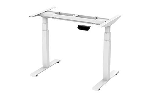 StandXT elektrisch höhenverstellbarer Tischgestell D07-23DW, stufenlos höhenverstellbarer mit Gyro Kollisionschutz, stabilen 3-Segment Füßen, Memory-Steuerung weiß