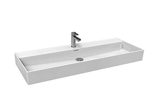 Aqua Bagno   Lavabo en moderno diseño Loft Air   rectangular   lavabo de pared   lavabo de cerámica   blanco   1212 x 466 x 120 mm