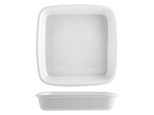 Saturnia 028444 Roma Plat carré, Porcelaine Blanc 26 cm