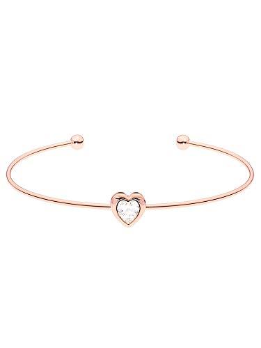 Ted Baker Hasina Crystal Heart Ultra Fine Cuff Rose Gold Tone
