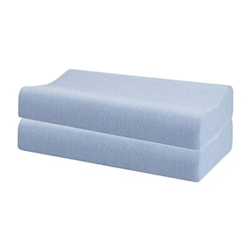 WXYPP Dos Almohadas de látex se Espesan y se reducen sin Cambiar para Formar la Columna Cervical Humana para Ayudar a Dormir (Color : Blue)
