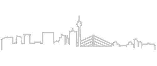 Samunshi® Düsseldorf Skyline Aufkleber Silhouette in 8 Größen und 25 Farben (15x3,4cm silbermetalleffekt)
