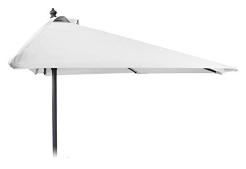 Meinposten. Halber Sonnenschirm 250x125 Halbrunder Balkonschirm Kurbelschirm Alu Kurbel weiß