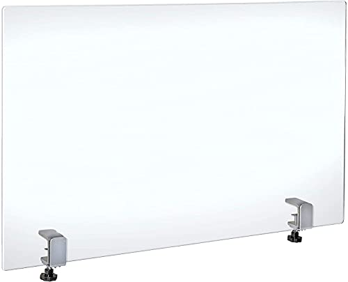 Azar Displays Protective Sneeze Guard for Counter and Desk with Clamp - Plexiglass Barrier (Pack of 1) - Acrylic Desk Shield with Metal Counter Edge Clamp. Plastic Shield for Desk, Clear (179756-187)