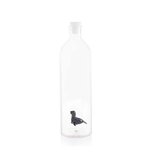 Balvi Botella Seal para Agua Contiene Figura de Foca con tapón de Silicona Borosilicato 30cm