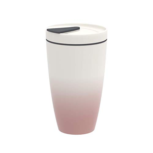 like. by Villeroy & Boch To Go Becher powder, 350 ml, Premium Porzellan/Silikon, Weiß/Rosa