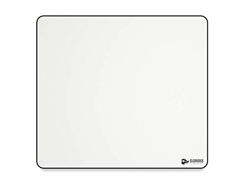 Glorious XL Gaming Mouse Mat/Pad - Large, Wide (XL) White Cloth Mousepad, Stitched Edges | 16'x18' (GW-XL)