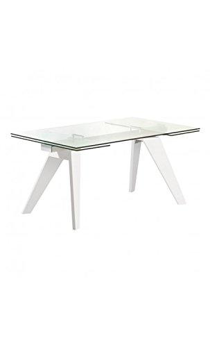 CAMINO A CASA - Table à rallonges Bois Blanc et Verre Mountain 160-240 cm
