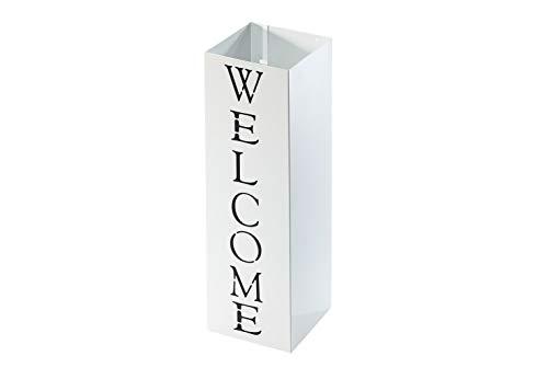 Kobolo Moderner Schirmständer Welcome aus weiß lackiertem Metall