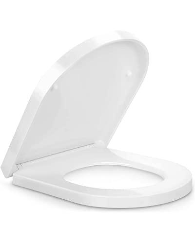 Pipishell Toilettendeckel, WC Sitz mit Absenkautomatik, Premium Klodeckel D-Form aus Duroplast, Klobrille mit Quick-Release Funktion für leichte Reinigung, Antibakteriell Klodeckel, Toilettensitz weiß