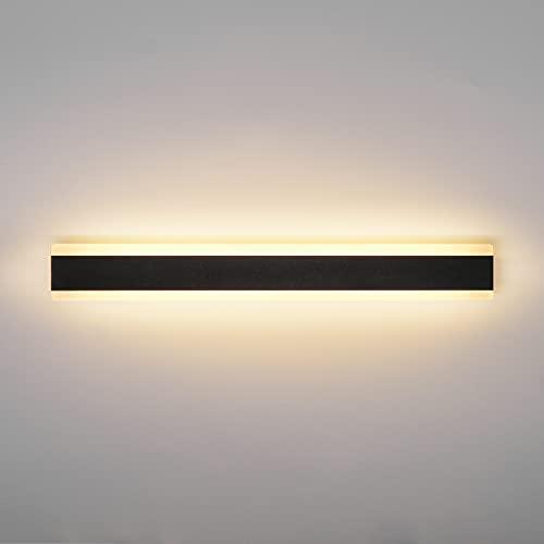 Ritif LED Applique Murale extérieure 20W 3000K Blanc Chaud Moderne Noire Étanche IP65 60cm Applique Lumineuse pour jardin terrasse garage