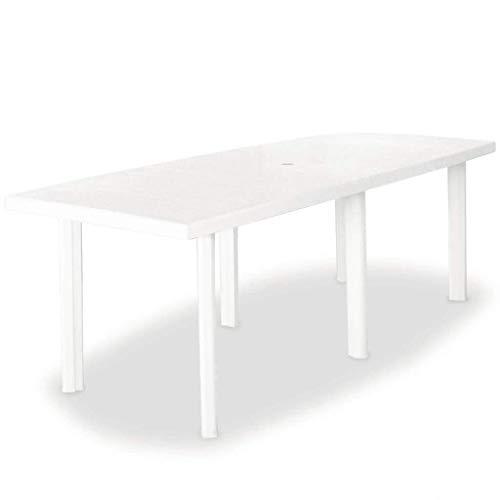 vidaXL Table de Jardin Table de Salle à Manger Dîner Repas Table de Patio Camping Terrasse Arrière-Cour Extérieur Blanc 210x96x72 cm Plastique
