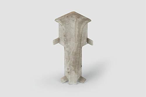 EGGER Innenecke Sockelleiste Stein weiss für einfache Montage von 60mm Laminat Fußleisten | Inhalt 2 Stück | Kunststoff robust | Stein Optik hell grau