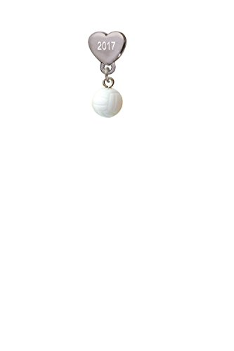 Resin Volleyball Custom Year Stainless Steel Heart Bead Charm