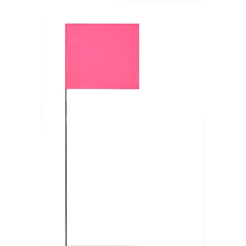 Swanson FPG15100 2-Inch by 3-Inch Marking Flags with 15-Inch Wire Staffs, Pink 100-Pack