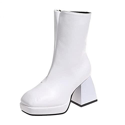 JDGY Botines de tacón alto para mujer, con cremallera, transpirables, antideslizantes, estilo británico, Blanco, 37 EU