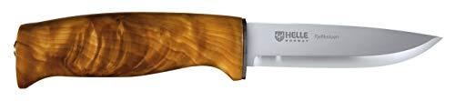 Helle Erwachsene Outdoormesser, Modell 4 Fjellkniven, Dreilagenstahl, masurische Birke, Lederscheide Messer, Mehrfarbig, 20.7 cm