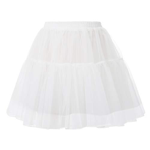 GRACE KARIN Jupon années 50 Vintage en Tulle Rockabilly Petticoat Underskirt Court Ballet sous Robe Vintage Femme Blanc M CL2503-2