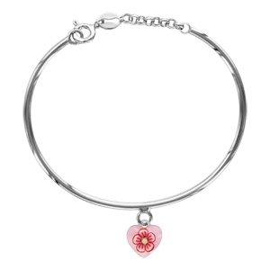 1001 bijoux–Braccialetto Argento Rodiato Bambino semirigida Pampille Cuore Rosa Motivo Fiore