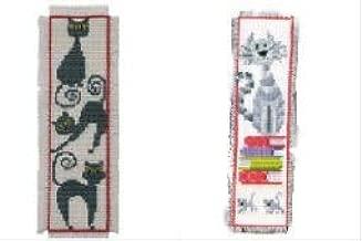 2 Item Cross Stitch Bookmark Kit Bundle : Cat on Books and Black Cat