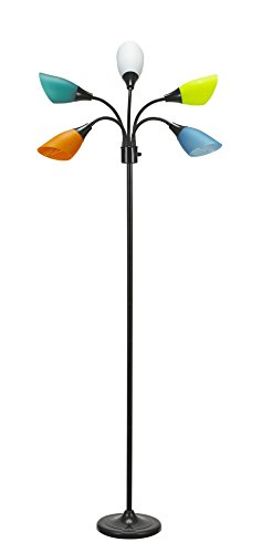 """Catalina Lighting 20744-000 Modern Mesa 5 Floor Lamp with Adjustable Reading Lights and Colored Shades, 67.5"""", Black"""