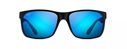 Maui Jim Red Sands w/ Patented PolarizedPlus2 Lenses Polarized Lifestyle Sunglasses, Matte Black/Blue Hawaii Polarized, Large