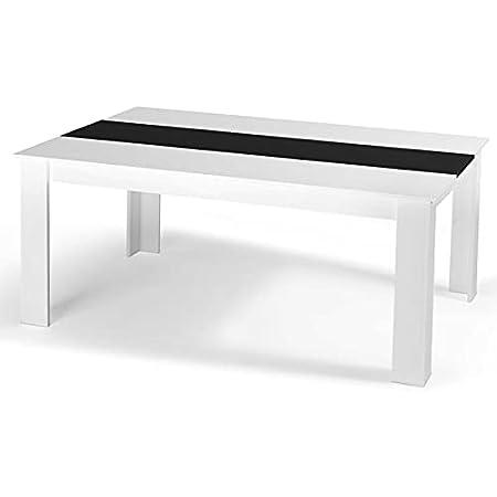 IDMarket - Table à Manger Georgia 8 Personnes Blanche et Noire 160 cm