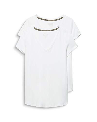 Esprit 999ee1n800 T-Shirt, Blanc (White 100), X-Large (Lot de 2) Femme