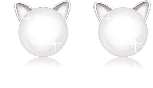 Collar de moda para mujer 925 plata esterlina CZ pendientes exquisita ciervos, gatos y animales pequeños de perlas mujeres de la muchacha de los niños, el nombre de los colores: Perla gato Iza