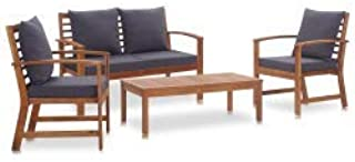 vidaXL 4 Piece Solid Acacia Wood Garden Lounge Set with Cushions Weather Resistant Conversation Set Patio Furniture