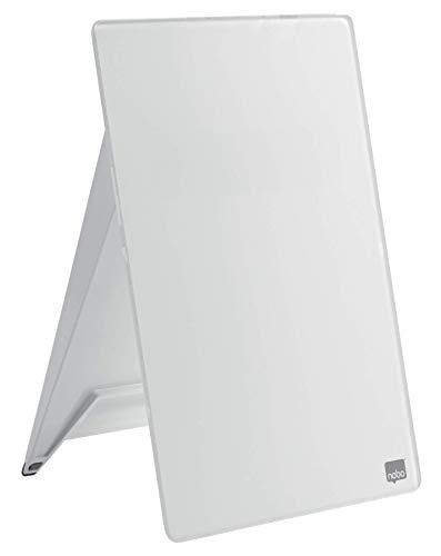 Nobo aufstellbares, abwischbares Notizboard aus Glas für den Schreibtisch, 21,6 x 29,7 x 3 cm, Brilliant Weiß, 1905173