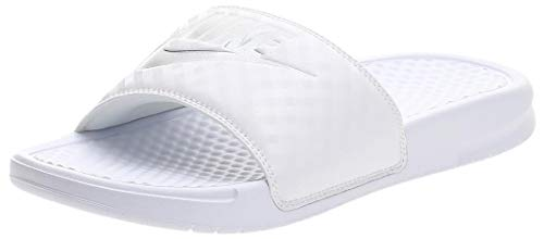 Nike Benassi Just Do It, Chanclas Mujer, Blanco (White/Metallic Silver 102), 40.5 EU