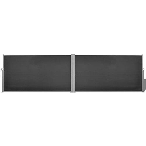 Festnight Ausziehbare Seitenmarkise Sichtschutz Windschutz Markise Sonnenschutz Sichtschutz Windschutz 160x600 cm Schwarz
