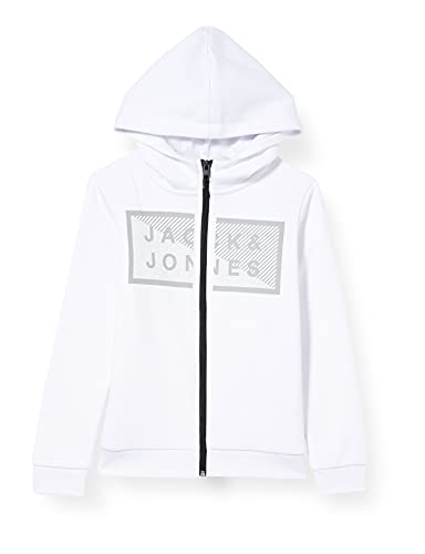 JACK & JONES JCOSHAWN Sweat Zip Hood JR Felpa a Giacca, Bianco, 14 Anni Bambino